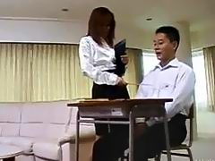 Asian teacher has her student -