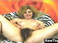 Very Hairy Slut Masturbating